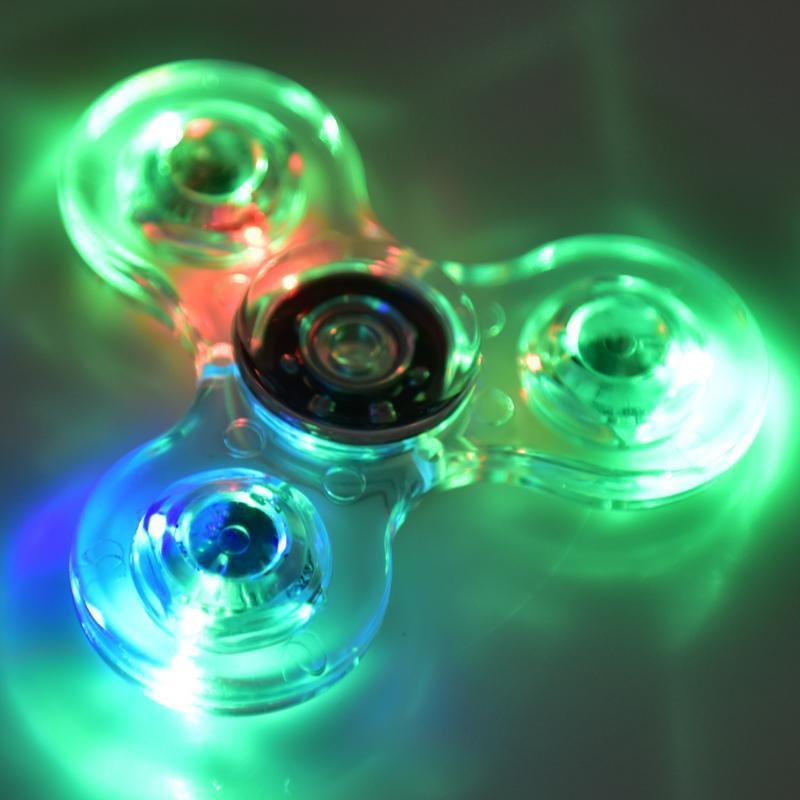 2017 Acrylique LED Lumineux Paillettes Gelée Effacer Fidget Spinner Cristal À La Main Spinner Illumine Tri Fidget fileurs OTH440