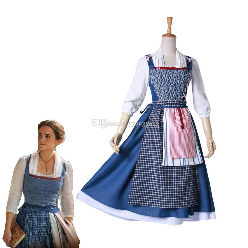 Movie Beauty And The Beast Belle Cosplay Costume Halloween Party Village  Apron Dress Maid Outfit Costume Funny Costumes Cool Halloween Costumes From  .