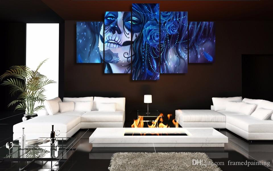Framed HD Printed Blue Day of the Dead Face Picture Wall Art Canvas Print Decor Poster Abstract Canvas Oil Painting