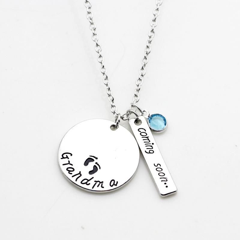 Wholesale new fashion necklace grandma coming soon footprint charm wholesale new fashion necklace grandma coming soon footprint charm pendant necklace rhinestones charm necklace women gift for grandma heart pendant aloadofball Image collections