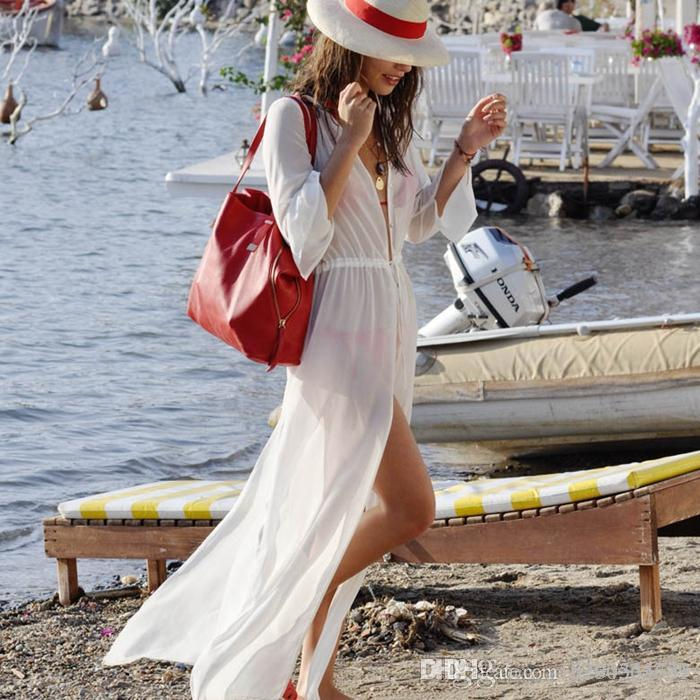 f3ad29221e5f4d 2019 2016 Women Beach Cover Up Long Sleeve Loose Bathing Suit Cover Ups  Ankle Length Long Beach Dress Sheer Vintage Swimsuit Q82 From H294364731,  ...