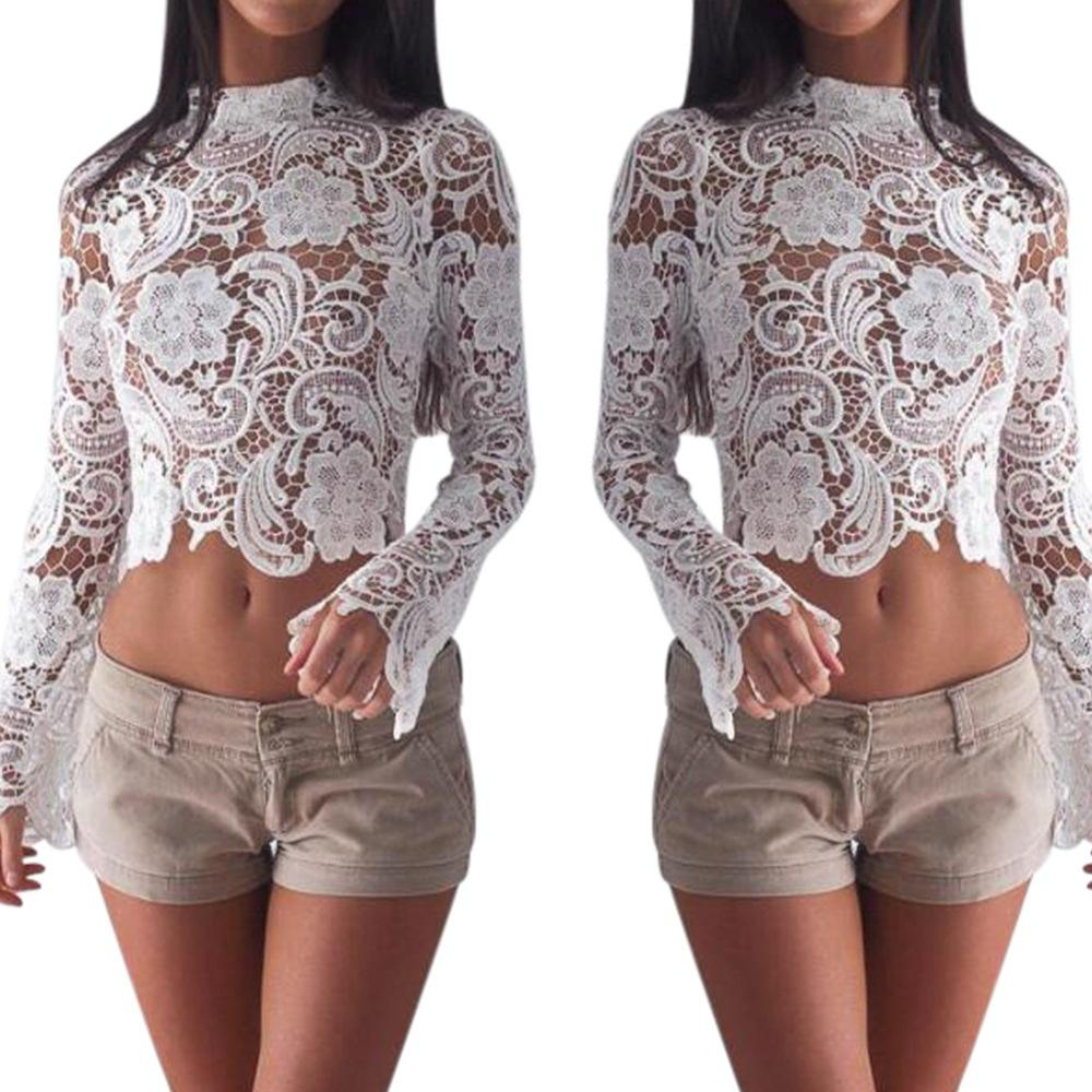 05d9487eaa2 New Women's Sexy White Lace Crochet Crew Neck Long Sleeve Back Zipper  Hollow Out Party Club Crop Top