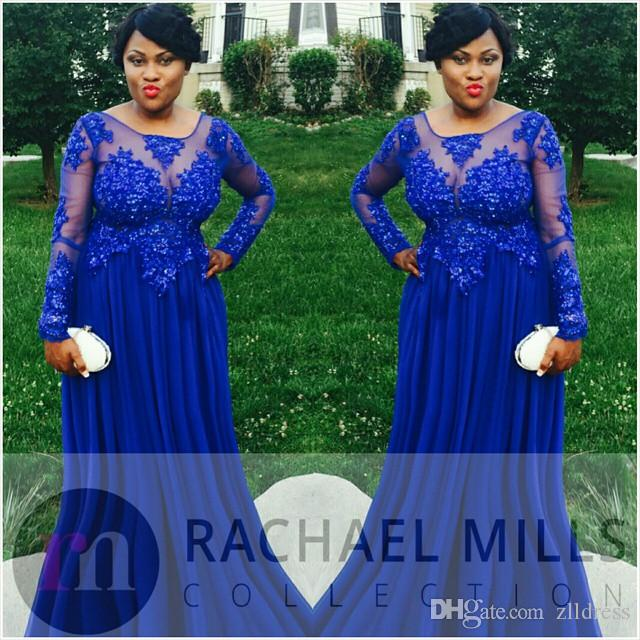 Royal Blue Plus Size Evening Dresses With Long Sleeve Chiffon Appliques Lace Empire Big Size Sheer 2017 Formal Prom Party Gowns