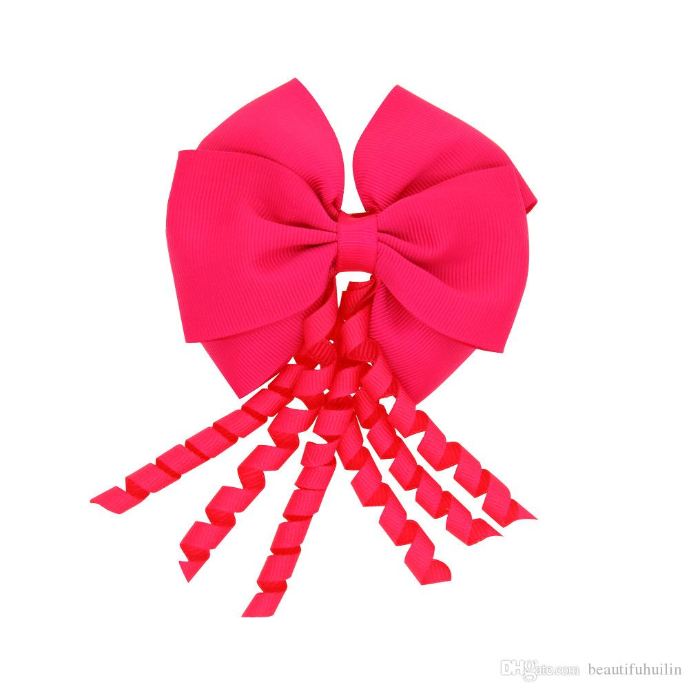 4 Polegada Meninas Sólidos Korker Em Camadas de Fita Arcos Hairpin Meninas Do Bebê Handmade Boutique Grampo de Cabelo Bonito HuiLin DW58