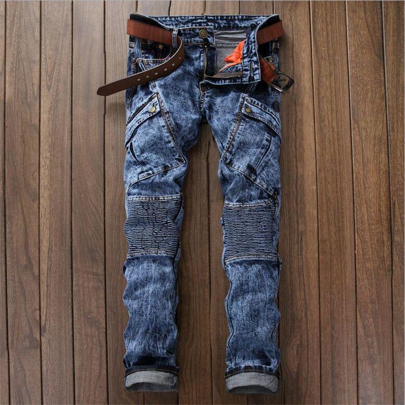35df91e90d2 2019 Wholesale 2016 Mens Slim Biker Jeans Mens Designer Clothes Snowflake  Multi Pockets Pleated Denim Jeans P4063 From Shoppingparty