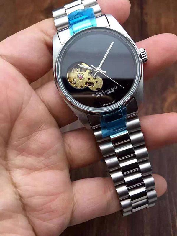 Hot Men Relojes Reloj de Lujo Marca de Acero Inoxidable banda Esqueleto Dial Mecánico Automático Reloj de Negocios Regalo Para Hombres relojes reloj