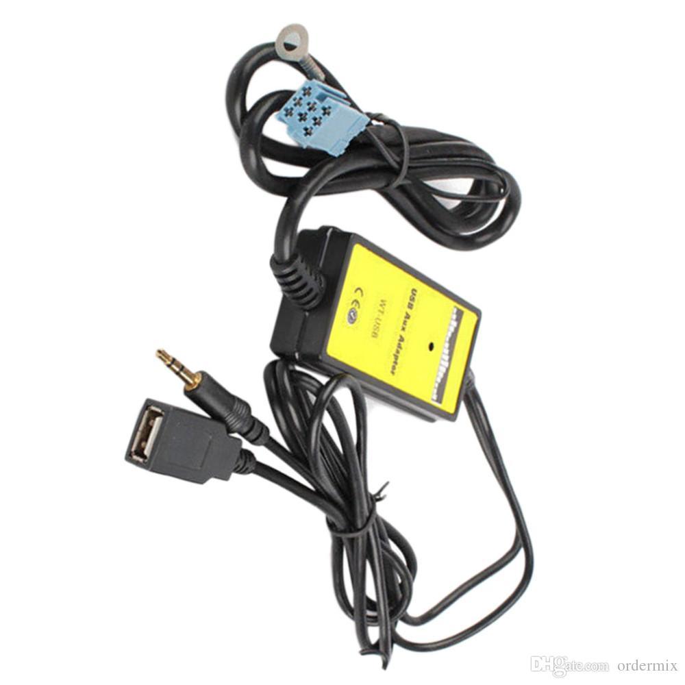 Adaptateur d'interface USB pour voiture MP3 avec entrée auxiliaire pour Audi A2 A4 A6 S6 A8 TT S4 S8 avec mini connecteur bleu ISO 8P