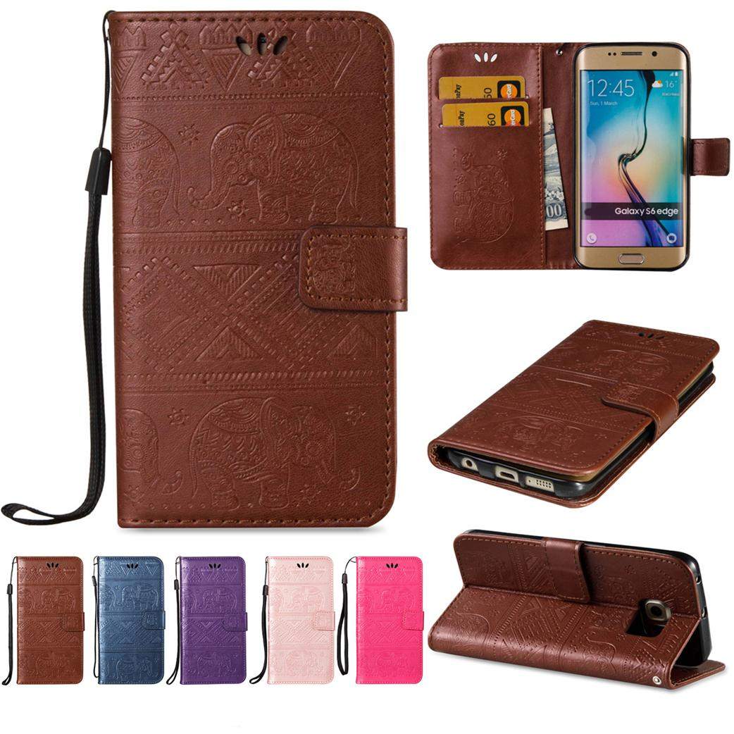 new product 8614f 342df Hard Wallet Cases For Samsung Galaxy S6 Edge Soft PU Leather Cover with  Flip Buckle ID Card Holder Empaistic Cute National Little Elephant