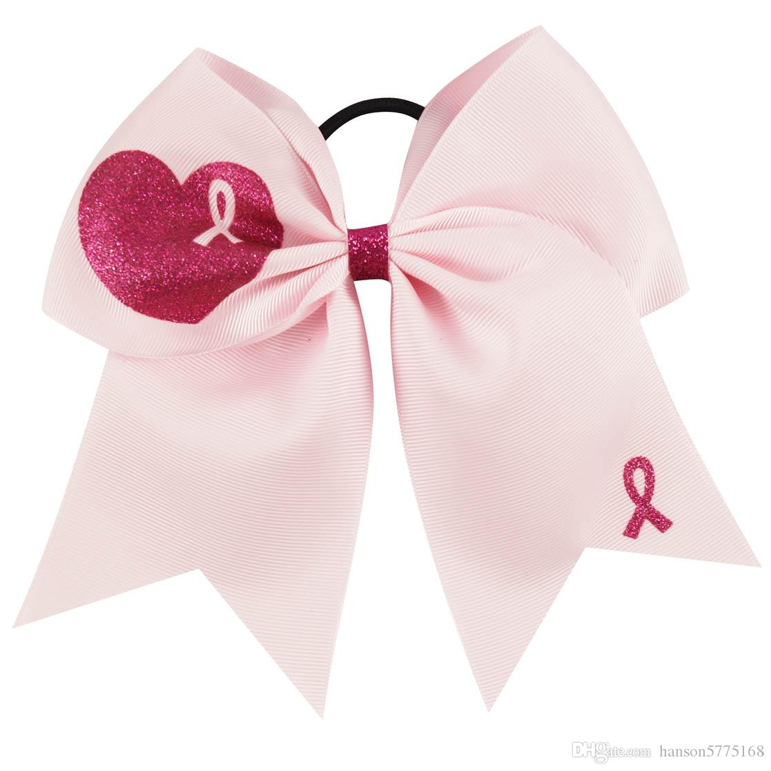 7.5 inch Boutique Breast Cancer Awareness Ribbon Cheer Bows with Ponytail Hair Holders for Cheerleading Girls Hair Accessories