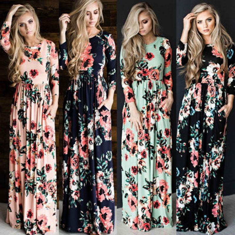 bcb3c7027993 2019 Wholesale New Casual Women Summer Floral Long Dress High Waist Female  Long Sleeve Party Dress Women BOHO Long Maxi Dress From Jst2015, $30.47 |  DHgate.