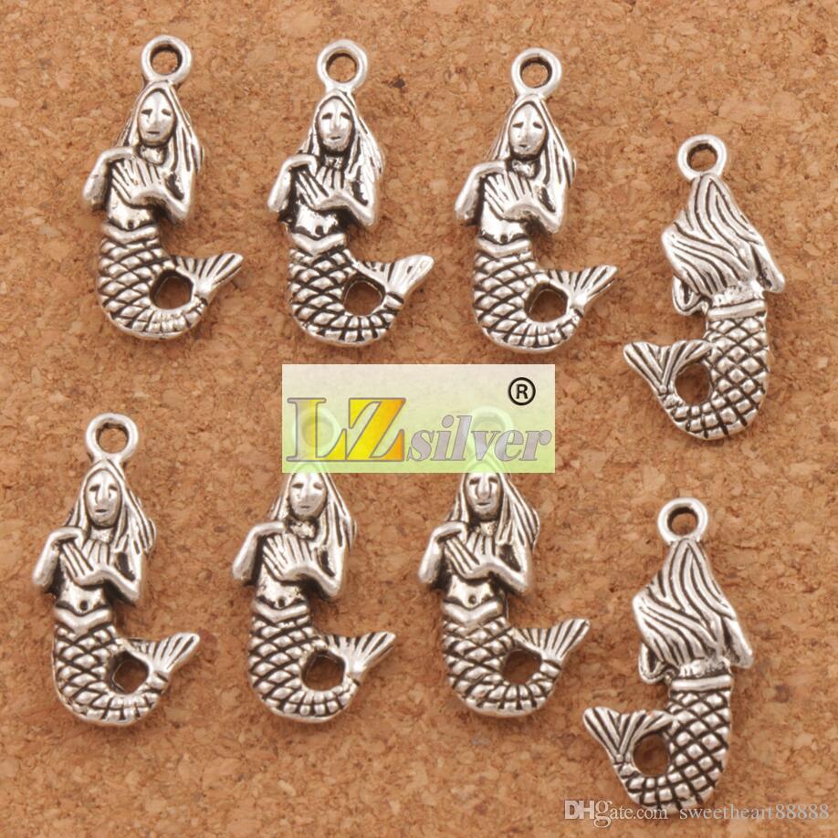 Plata antigua Sirena Charms Colgantes Joyería DIY 100 unids / lote L164 22.4x10.3mm Resultados de la joyería Componentes VENTA CALIENTE