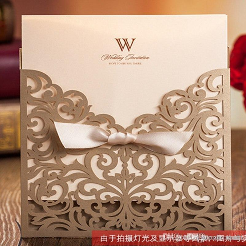 Personalized Wedding Invitation Cards Floral Wedding Supplies Gold ...