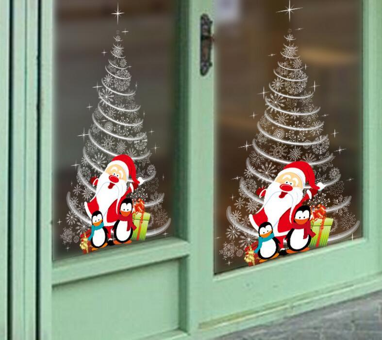 Christmas window stickers office christmas party supplies winter wall stickers 2018 new year xmas decorations wooden christmas decorations wooden christmas