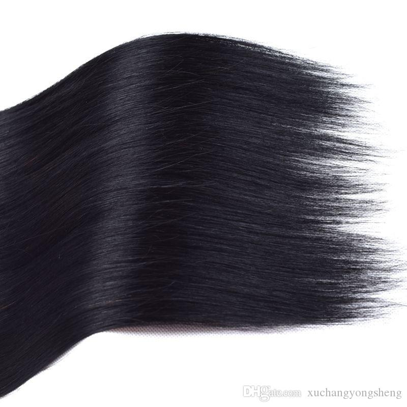 Wholesale Brazilian Virgin Hair Jet Black 1# Straight Human Hair Weave Top Quality Brazilian Virgin Hair Extensions