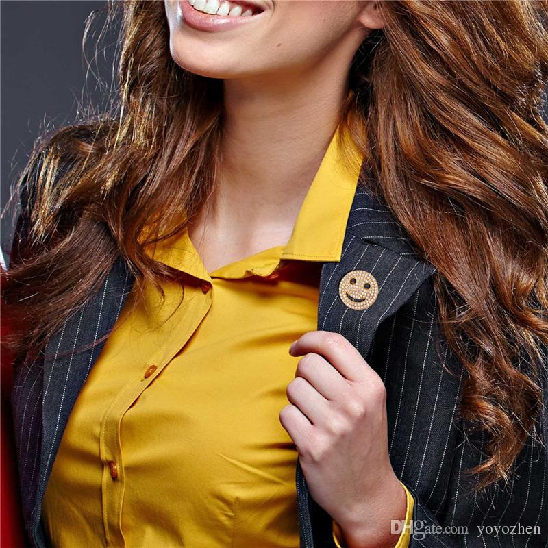 Cubic Zirconia Smiling Face Brooches for Women Men Platinum Plated 18K Real Gold Plated Cute Lucky Breastpin