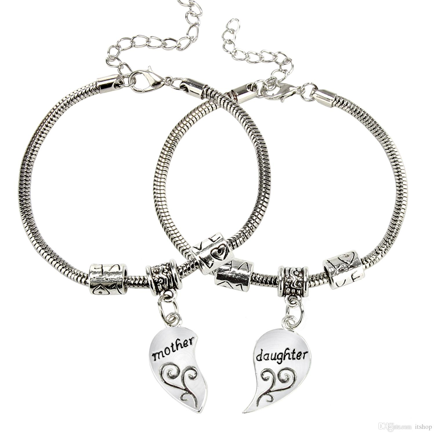 Mother And Daughter Love Broken Heart Bangle Charm Beautiful