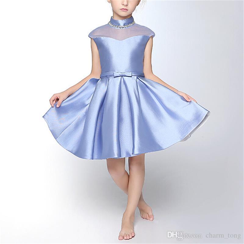 Düğün Küçük Kız Çocuklar için yepyeni Çiçek Kız Elbise Yüksek Boyun Parti Yarışması komünyon Elbise / Çocuk Prenses Giydirme