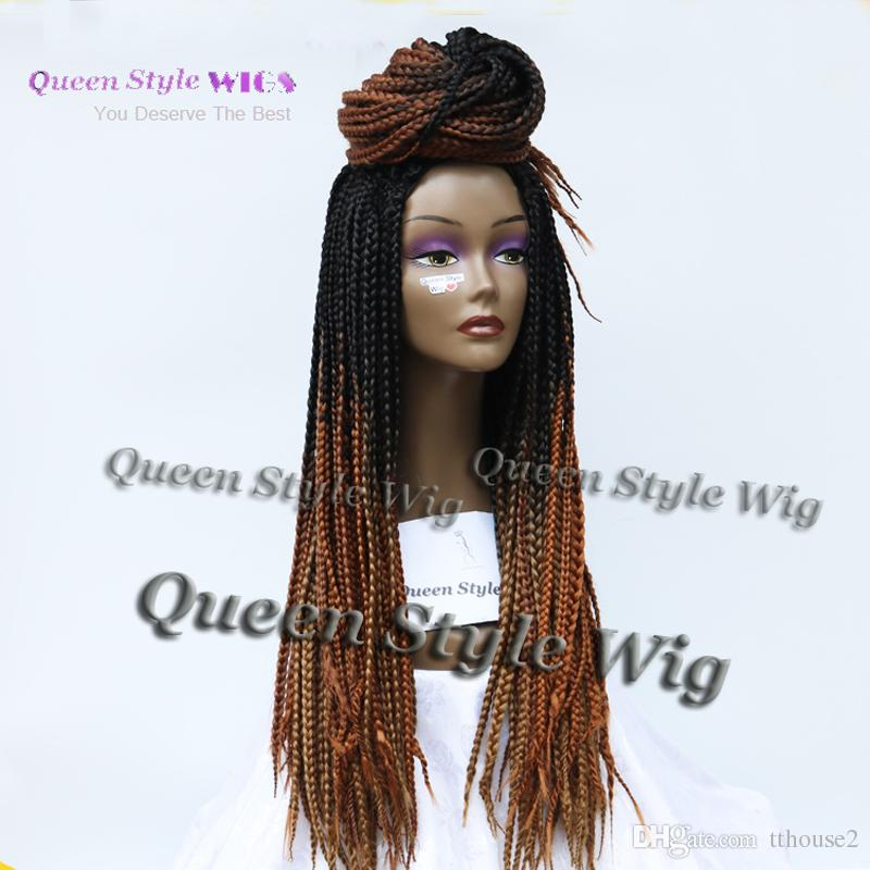 Top Quality Fat Braided Hair Wig, Heavy Full Braids Wig Custom Long Two Tone Black Brown Color Braided Hair Wigs Ombre Peruca