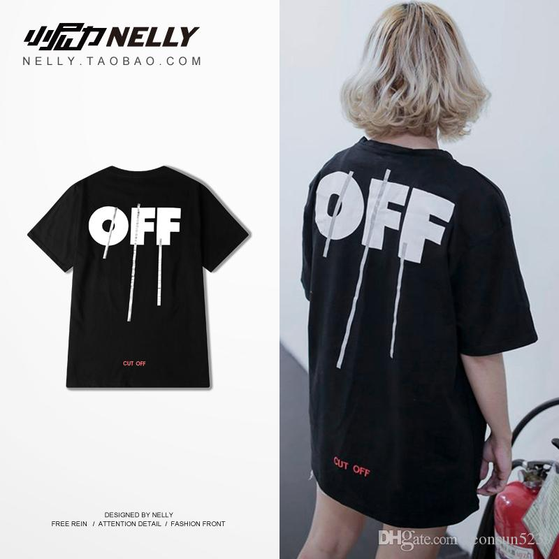 7eb56d72fbae Wholesale Best Quality 2016 Winter Off White AW16 Silver Off Stripe Print  You Cut Me Off Short Sleeve Cotton T Shirt Tee Retro Tees Weird T Shirts  From ...