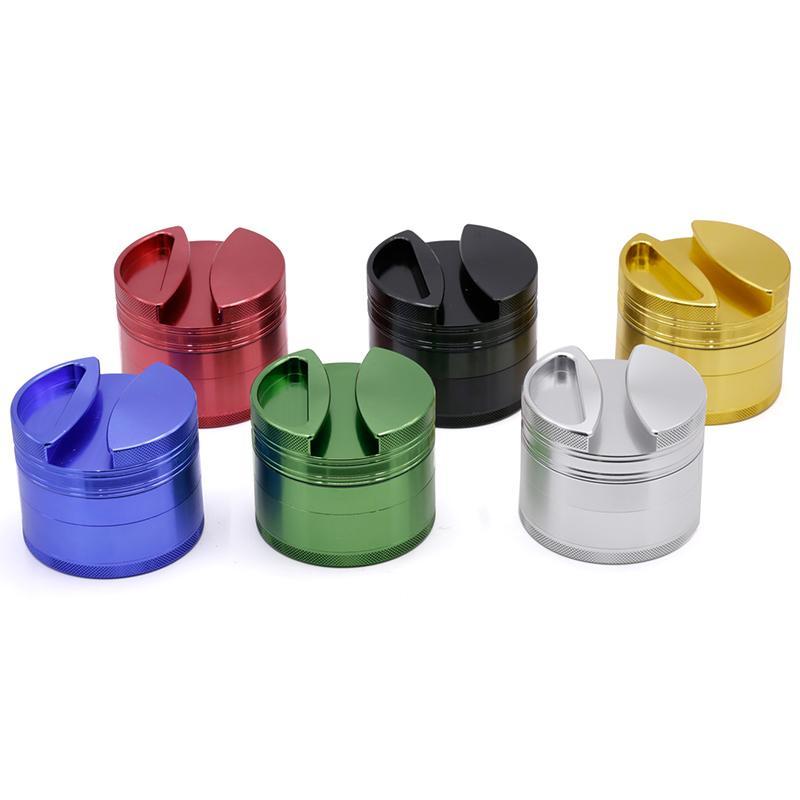 Nuovo stile 4 strati in lega di alluminio herb grinder 75mm di diametro in metallo smerigliatrice da fumo tabacco frantoio twisty vetro smussato 4407 0266146-1