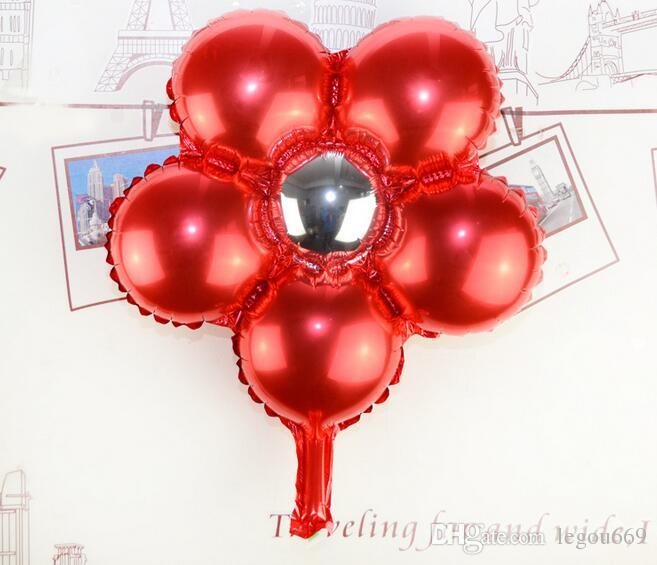 New five petals green flower aluminium foil balloon wedding balloons children's birthday party decoration helium balloon Gift G378