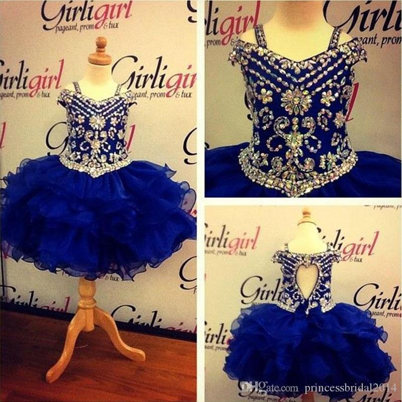 Lovely Royal Blue Crystals Girls Pageant Dresses 2017 Little Girls Ball Gown Mini Ruffles Organza Cheap Princess Cupcake Ritzee Girl Dress