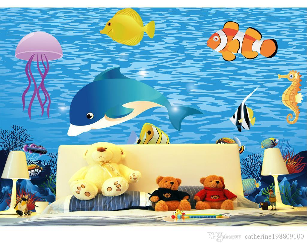 New Custom 3D Beautiful Sea fishing fish room background wall murals wallpaper for walls 3 d for living room