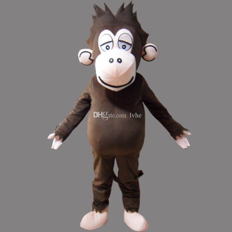 Brown Monkey Adult Size Mascot Gorilla Costume Fancy Birthday Party Dress Halloween Carnivals Costumes With High Quality Free Shipping