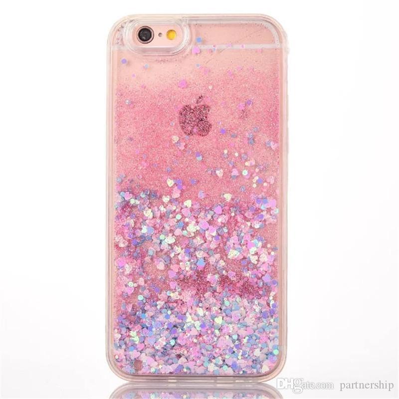 Téléphone Cas Pour Iphone 7 7 Plus 6 6 S Plus 5 5S SE Chaude Amour Coeur Glitter Étoiles Dynamique Liquide Quicksand Souple TPU Cadre Téléphone Couverture Arrière