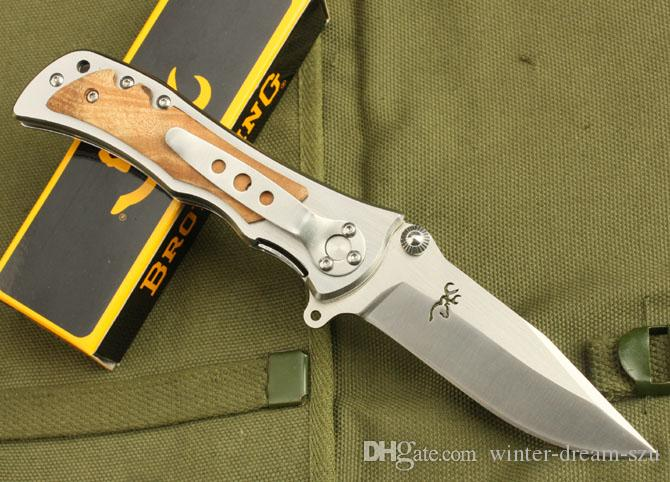 Coltelli da sopravvivenza Browning 339 Coltello pieghevole Coltello Kageki in acciaio inox Bianco Shadow Wood Coltelli multiuso B217Q