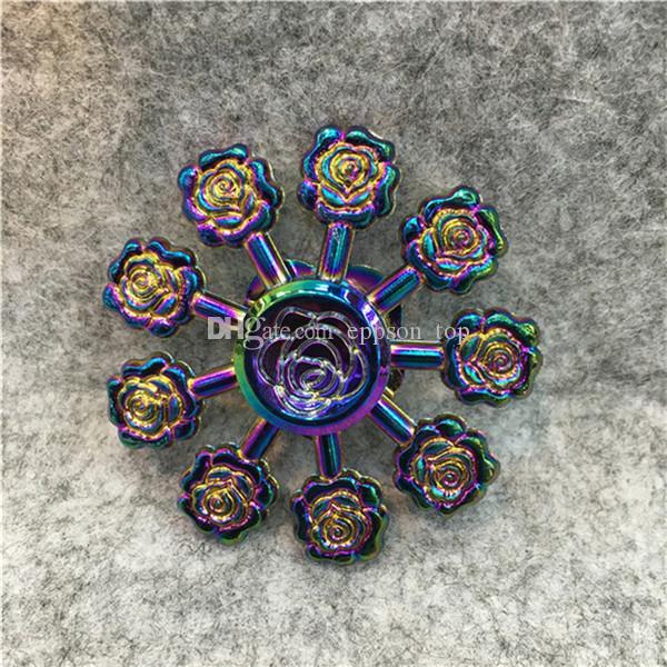 Rose Hand Spinner Zinc Alloy Fid Spinner 9 Leaves Flower Rose