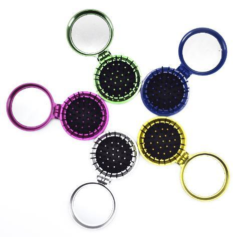 New Girls Portable Mini Folding Comb Airbag Massage Round Travel Hair brush With Mirror Cute Round Hair Brushes