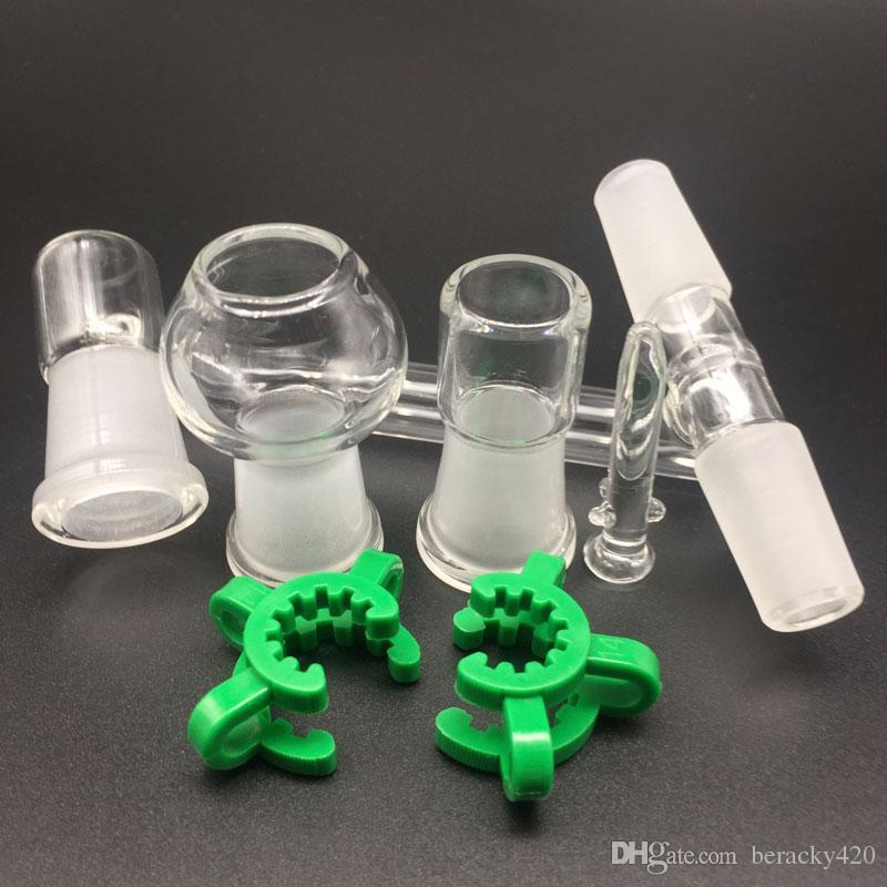 Adaptadores drop down de vidro 3 conjunta Reclaim Ash Catcher adaptador 14.4mm ou 18.8mm Com Keck Clipe Para Vidro Bong Oil Rigs