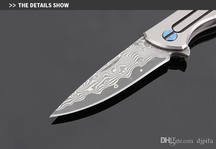 K8001 Mini Damascus Folding Knife With Key Ring Damascus Pocket Knife