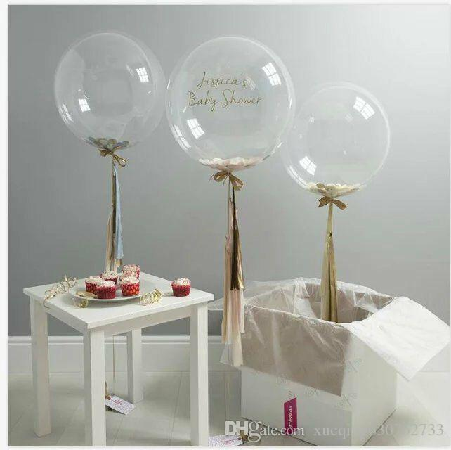 5/ 12/18/36 inch Confetti Balloons Giant Clear Balloons Party Wedding Party Decorations Birthday Party Suppliers Air Balloons 10pcs