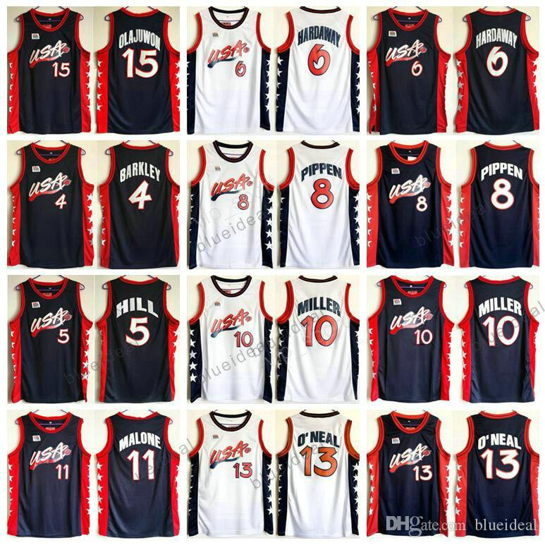 5dcf68a87 ... Shirts Throwback Uniforms Atlanta Olympic USA 1996 Dream Team  Basketball Jerseys 4 Charles Barkley 5 Hill 6 Hardaway 8Pippen ...