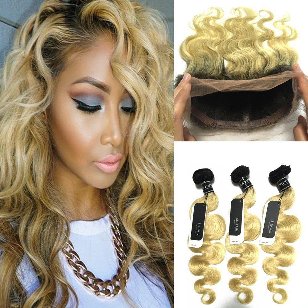 Dunkle Wurzeln Blonde 360 Spitze Frontal Mit Bundles Zwei Ton # 1b 613 360 Spitze Frontal Mit Körperwelle Menschliche Haarwebart 22,5 * 4 * 2