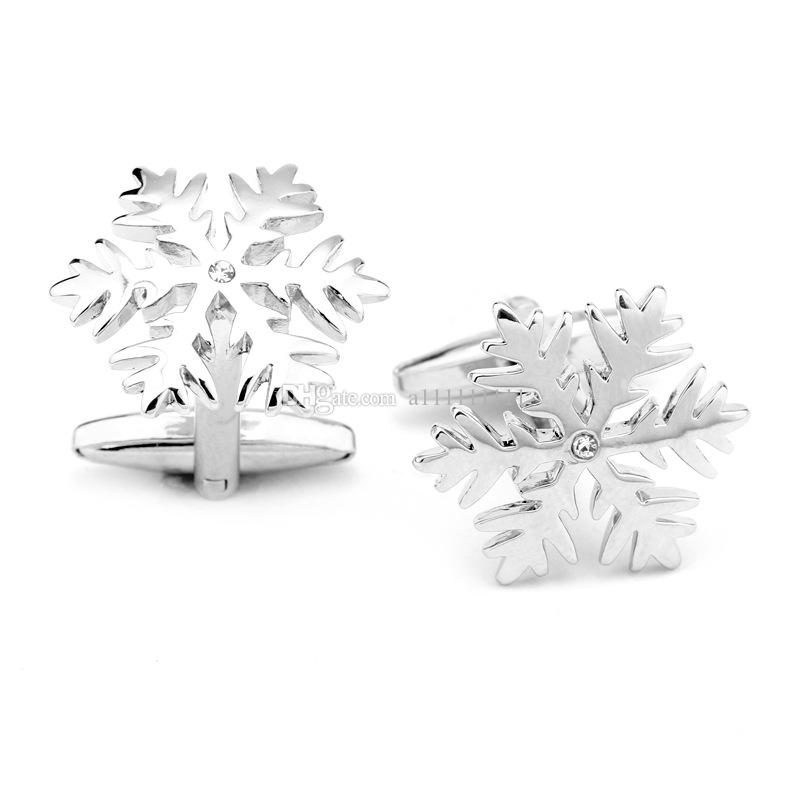 New Hot Sale Movie Cuff Links Snowflake White Crystals Fashion Charm Cufflinks For Men Shirt Wedding Gift