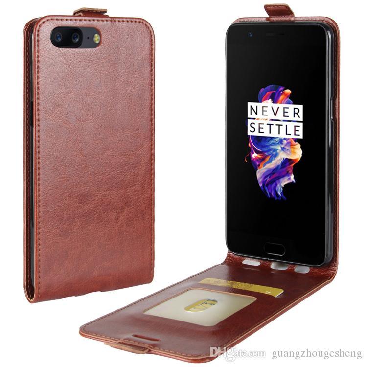 Cuoio Premium nuovo modello all'ingrosso Crazy Horse con il supporto della cassa del telefono Casrd OnePlus 5 A5000 Back Cover