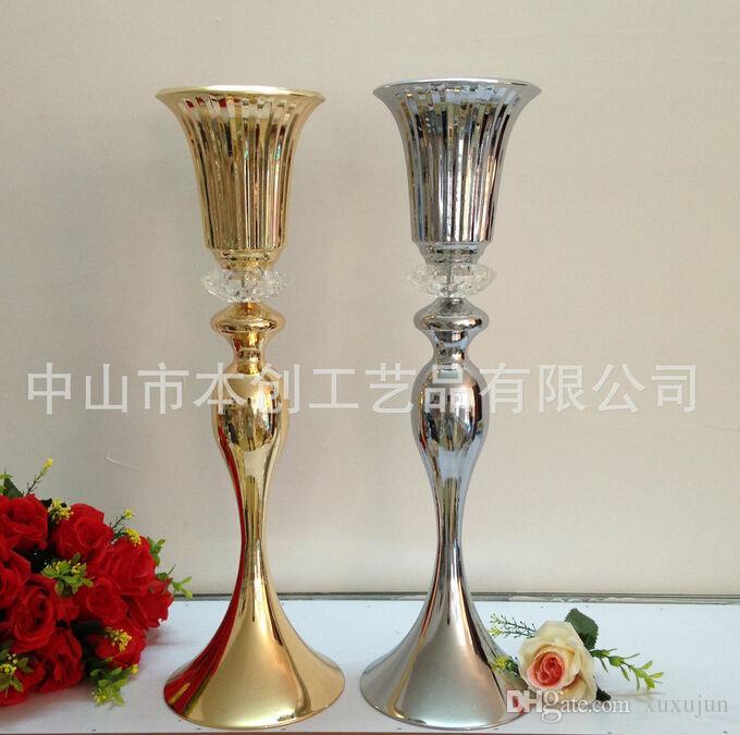 Neues freies Verschiffen DHL FEDEX 21.6 cm / 55 Zoll Goldsilberner Kristallhochzeitsmittelstückdekoration Vase