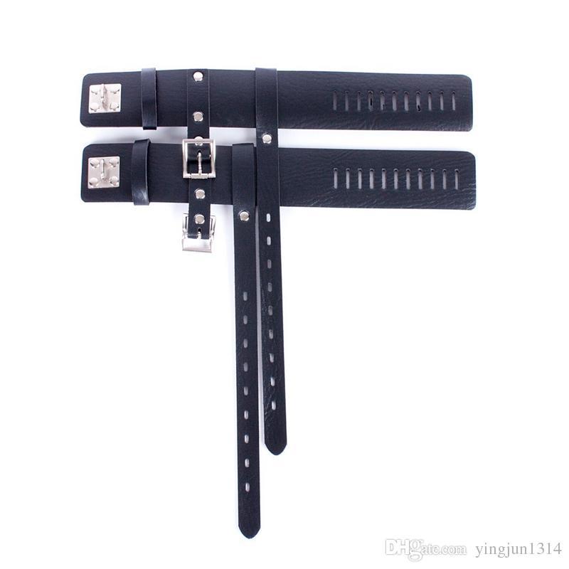 Tacones de cuero de LA PU conjunto de bondage kit Locking Belt tacones fetiche Restraint Gear Juegos para adultos Juguete Sexual Femenino para Parejas 1 Par