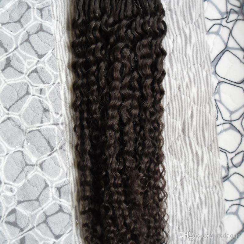 Brasilianische Jungfrau-Haar-Micro-Schleife-menschliche Haarverlängerungen 100g verworrene lockige Micro-Schleife Haarverlängerung Mikroringe