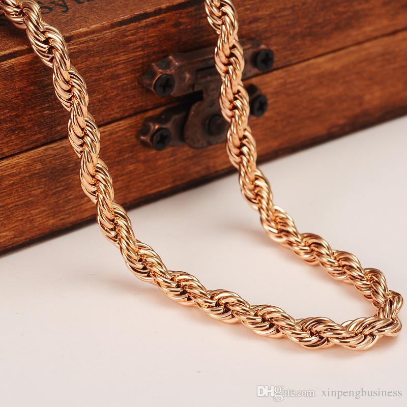Corda in oro massiccio 18k riempita con cordino in oro massiccio da 5 mm con catena sottile da 600 mm o 500 mm Scegliere