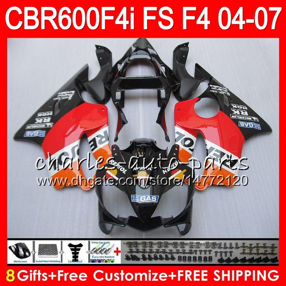 8Gifts voor HONDA CBR 600 F4I CBR600F4I 04 05 06 07 AAHM5 CBR600FS FS CBR600 F4I CBR 600F4I 2004 2005 2006 2007 FUNLING REPSOL ORANJE