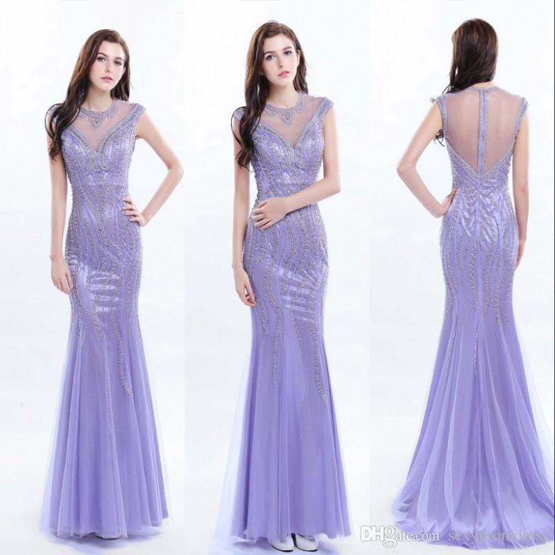 Gorgeous Lavender Mermaid Evening Gowns Sequins Beads Sheer Back ...
