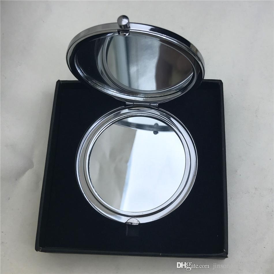 Yeni Gül altın veya şerit plaka Cep Kompakt Ayna Boş Yuvarlak Metal Makyaj Aynası, Kişiselleştirilmiş Ayna, her ambalaj içinde hediye kutusu