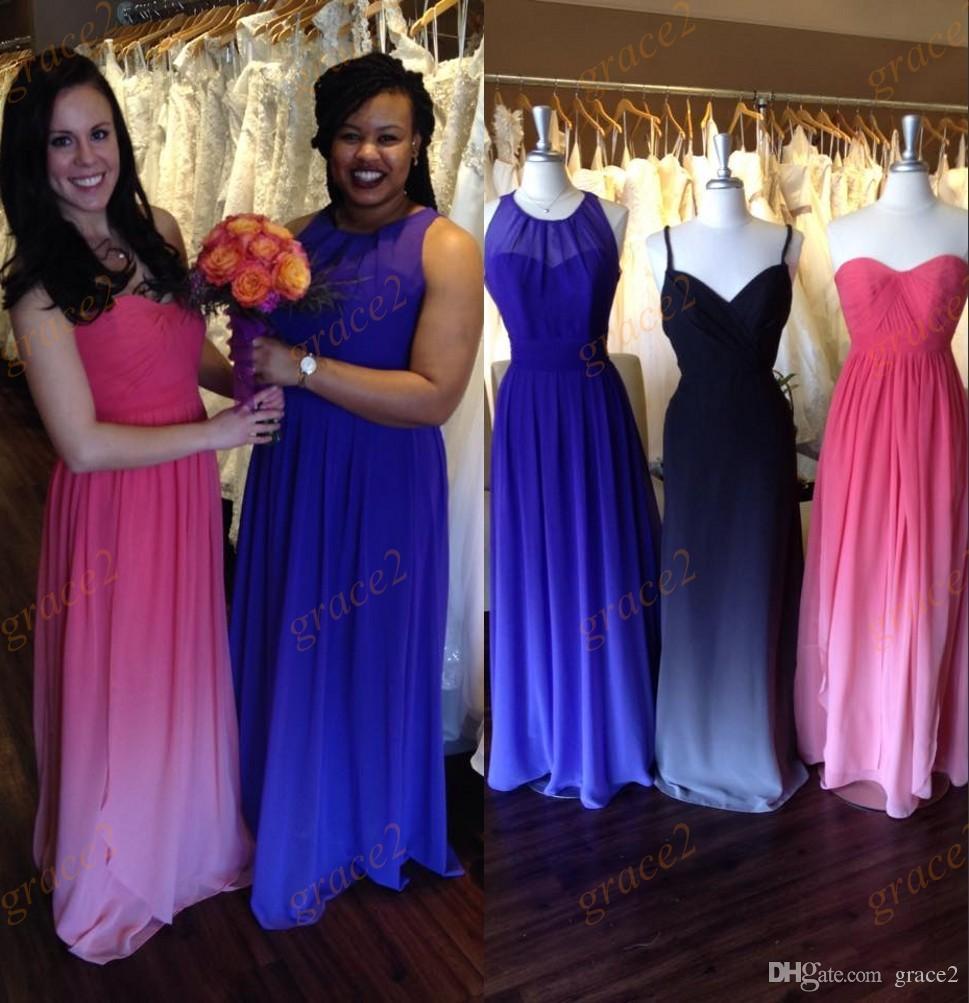 Robe Demoiselle D Honneur 2017 Long Ombre Bridesmaid Dresses Pleated  Chiffon Vestido Madrinha Jewel Spaghetti Strapless Wedding Guest Bridesmaid  Beach ... a52b1aa9f676
