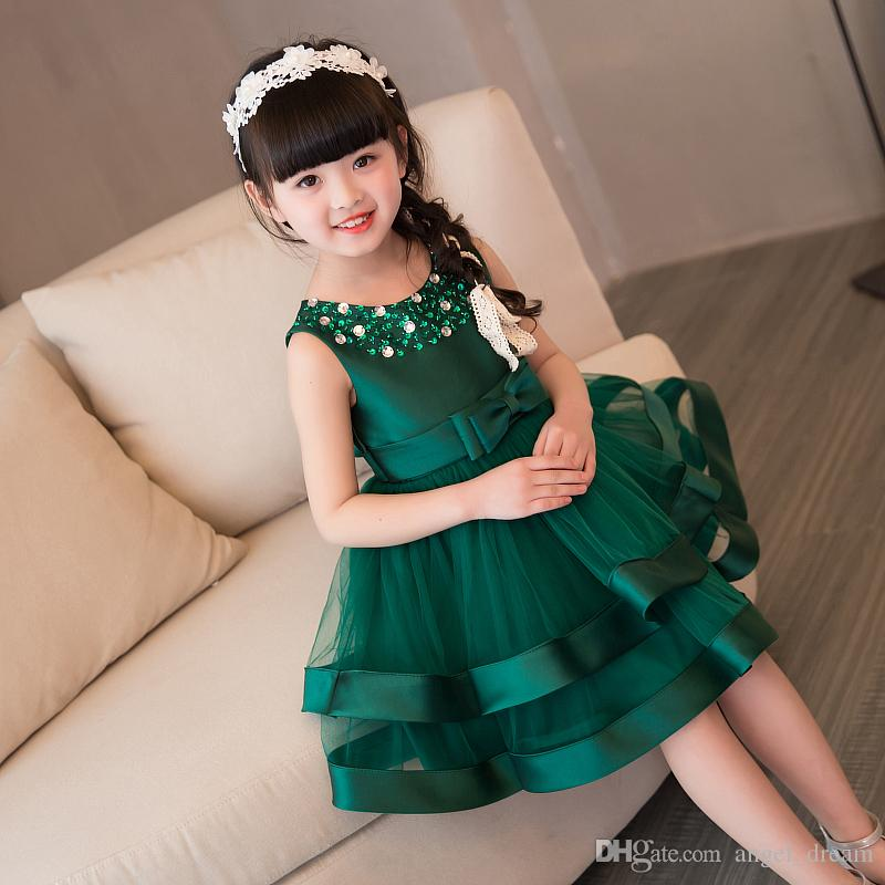 a0cf554bbcf New Green Flower Girl Dresses For Wedding Knee Length Little Girl Kids Child  Dress Ball Party Birthday Pageant Communion Dress Girls In Dresses Girls  White ...
