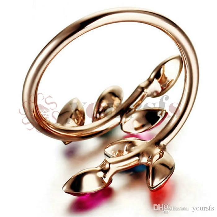 Yoursfs 18k rosa chapado en oro, hojas únicas con forma de anillo de compromiso de cristal austriaco colorido ajustable