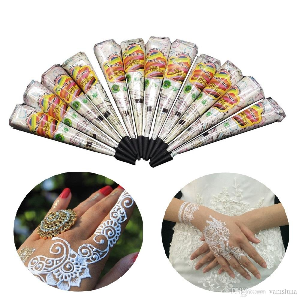 12 X White Henna Cone Indian Natural Herbal Body Art For Bridal
